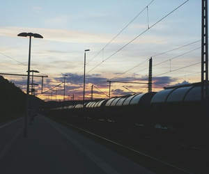 clouds, grunge, and railway image