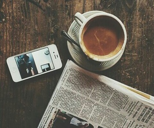 coffee, iphone, and newspaper image