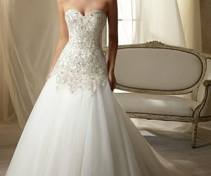 wedding dress, clothes, and fashion image