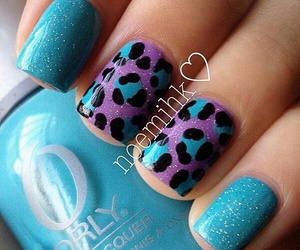 blue, leopard, and manicure image
