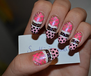 animal print, nails, and pink image