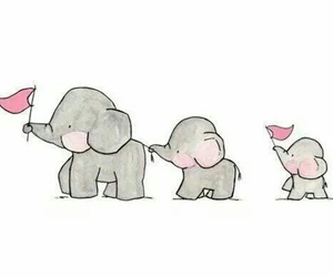 elephant, cute, and drawing image