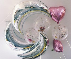 balloons, pink, and moon image