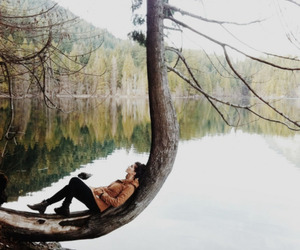 nature, girl, and tree image
