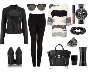 black and white, lady style, and fashion image