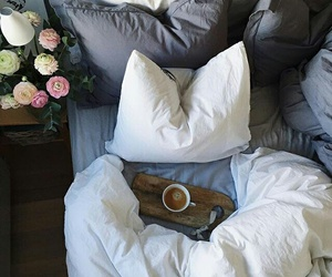 bed, flowers, and bedroom image