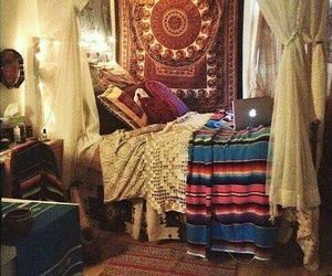 bedroom, boho, and tapestry image