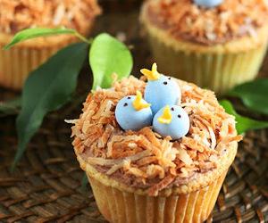 cupcake, birds, and nest image