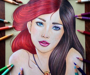 disney, ariel, and drawing image