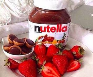 food, nutella, and strawberry image