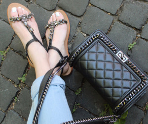 chanel, jeans, and sandals image
