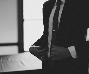suit, man, and black and white image
