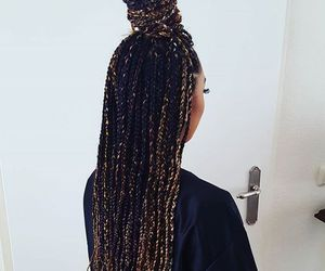 braid, girl, and black image
