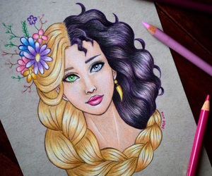 rapunzel, disney, and art image