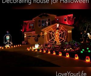 inflatable, spider web, and halloween lights image