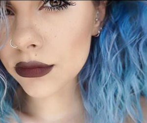 blue, girl, and makeup image