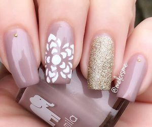 nails, flowers, and glitter image