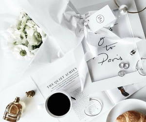 white, coffee, and flowers image