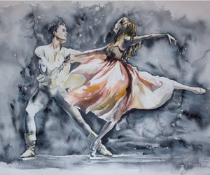 ballerina, painting, and romance image