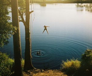 summer, jump, and lake image