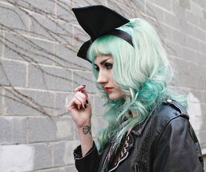 girl, bow, and green hair image
