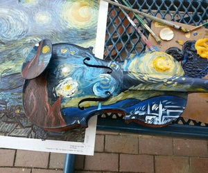 art, violin, and van gogh image