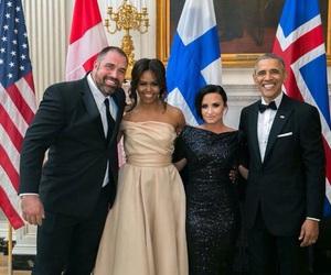 demi lovato, barack obama, and michelle obama image