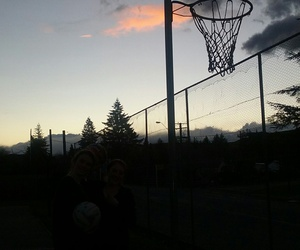hoops, silhouettes, and pretty sky image