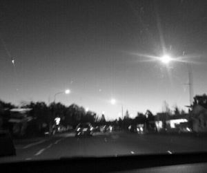 black and white, city lights, and night image