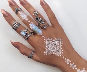 beach, henna, and jewelry image