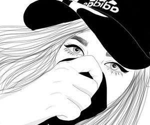 girl, outline, and adidas image