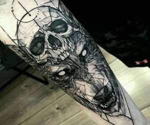tattoo, wolf, and skull image