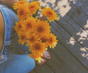 flowers, yellow, and jeans image