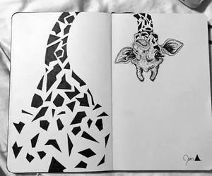 giraffe, drawing, and art image