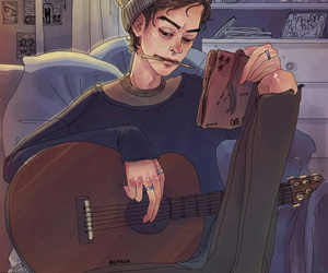 art, guitar, and loneliness image