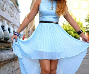 fashion, dress, and blue image