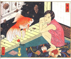 art, fish, and goldfish image