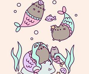 mermaid, pusheen, and gif image