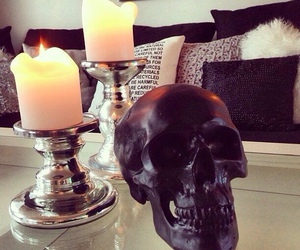 skull, candle, and room image