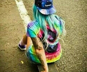 color, girl, and rainbow image