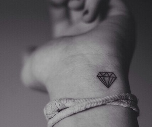 black and white, tattoo, and diamond image