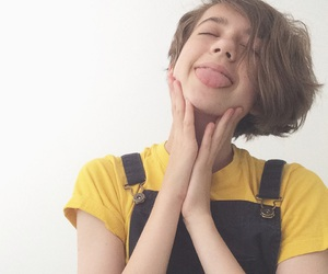 dungarees, yellow, and pixie cut image