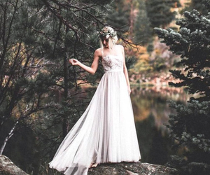 dress, forest, and wedding image