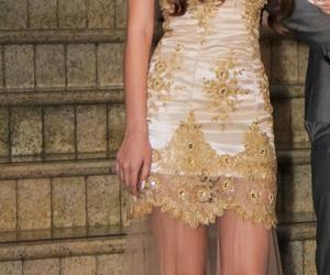 curls, dress, and prom dress image