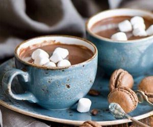 marshmallow, hot chocolate, and Hot image