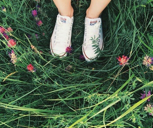all star, chuck taylor, and flowers image