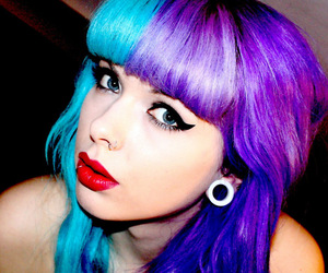blue, purple, and colored hair image