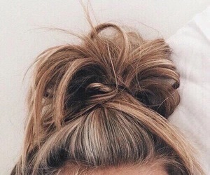 hair, bun, and brown image