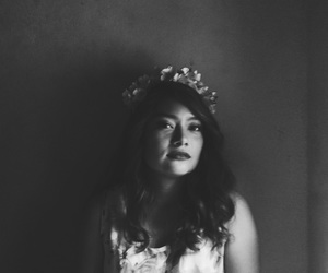 b&w, flowers, and girly image
