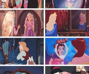princess, disney, and mirror image